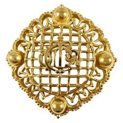 Christian Dior Large Goldtone Logo Brooch