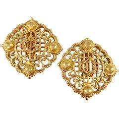Christian Dior Large Goldtone Logo Earrings 1980s
