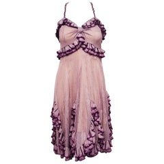 Christian Dior Lavender & Purple Ruffled Empire Waist Dress