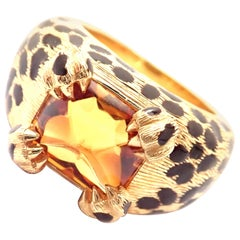 Christian Dior Leopard Citrine and Enamel Yellow Gold Ring