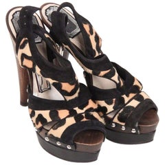CHRISTIAN DIOR Leopard Ponyhair Wooden Heel PLATFORM SANDALS 35.5 IT