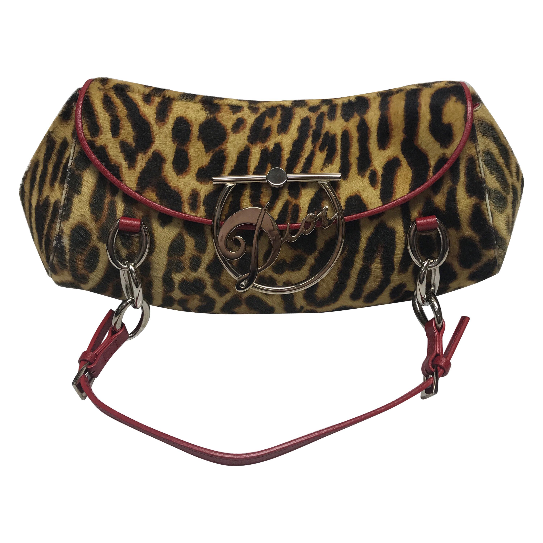 Christian Dior Leopard Print Pony Hair Handbag