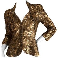 "Christian Dior Lesage Sequin Beaded Cannage Pattern ""Bar"" Jacket  John Galliano"