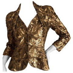 "Christian Dior Lesage Sequin Beaded Cannage Pattern ""Bar"" Jacket  John Galliano"