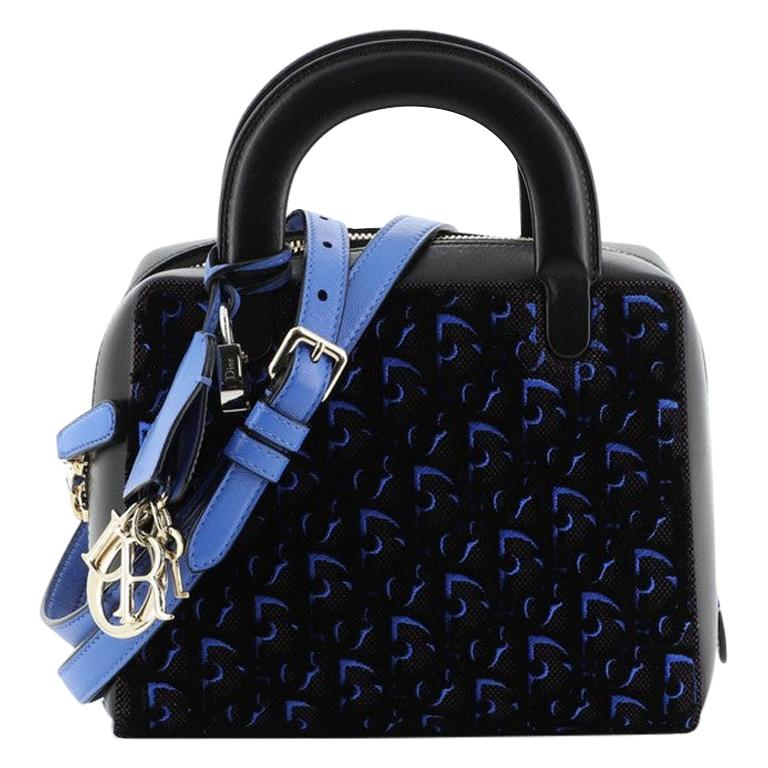 Christian Dior Lily Bowling Bag Oblique Velvet and Canvas Mini For Sale