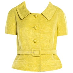 Christian Dior Lime Green Ribbed Cotton Belted Peplum Jacket L