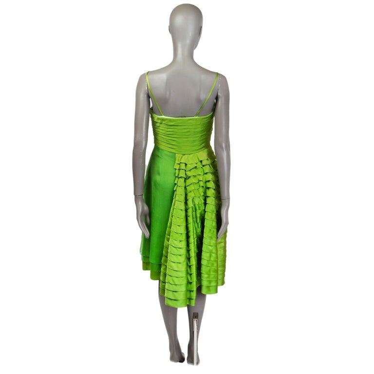 Green CHRISTIAN DIOR lime green silk ORGANZA & SATIN Cocktail Dress 40 For Sale