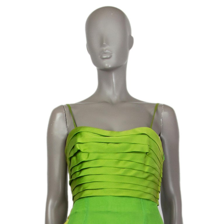 CHRISTIAN DIOR lime green silk ORGANZA & SATIN Cocktail Dress 40 In Excellent Condition For Sale In Zürich, CH