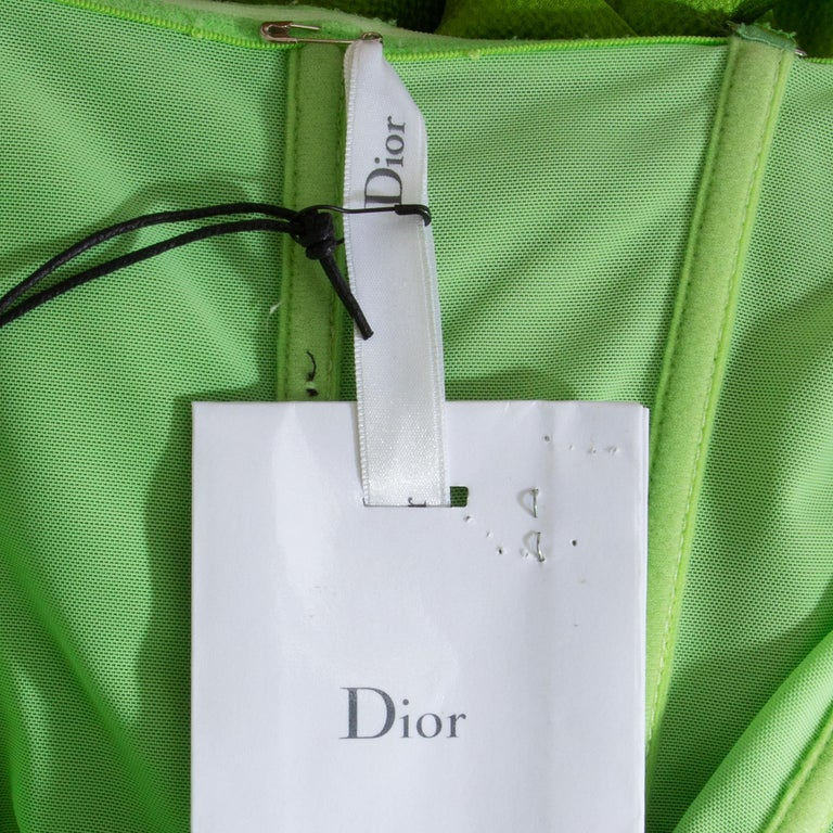 Women's CHRISTIAN DIOR lime green silk ORGANZA & SATIN Cocktail Dress 40 For Sale