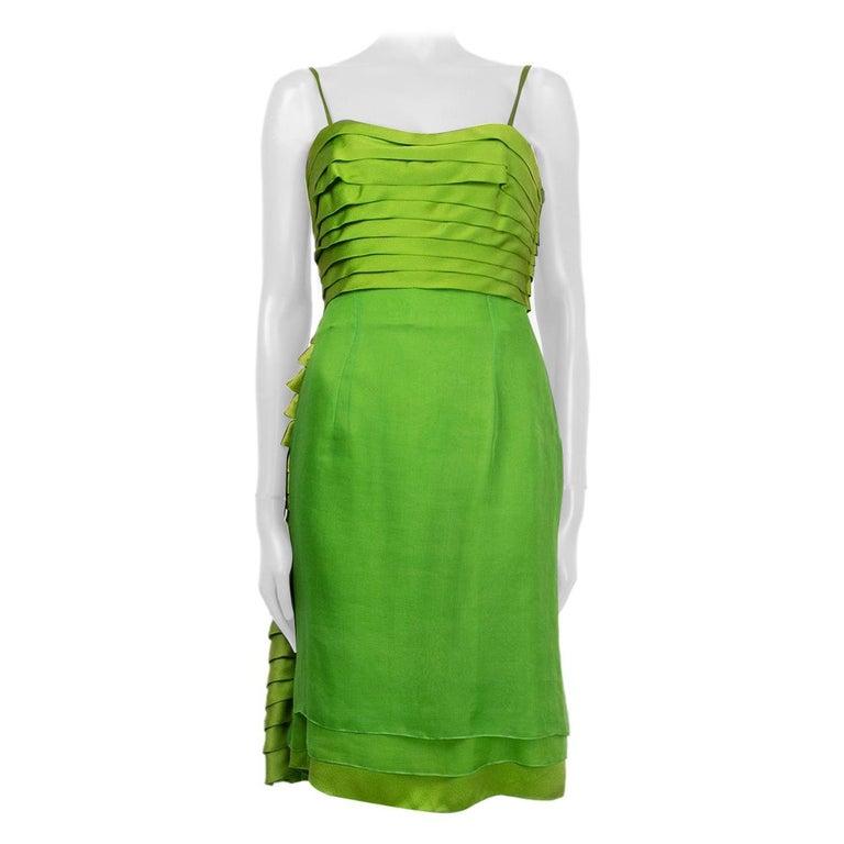 CHRISTIAN DIOR lime green silk ORGANZA & SATIN Cocktail Dress 40 For Sale