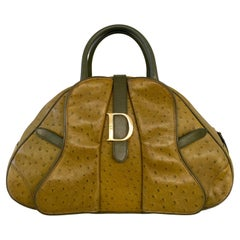 Christian Dior Limited Edition Ostrich Olive Green Bowler Bag