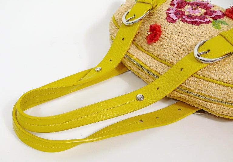 Christian Dior Limited Edition Raffia Flower Bowler Handbag For Sale 5