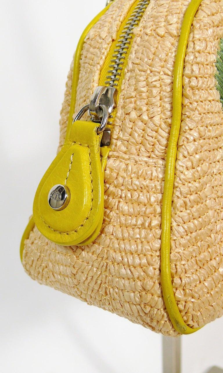 Christian Dior Limited Edition Raffia Flower Bowler Handbag For Sale 7
