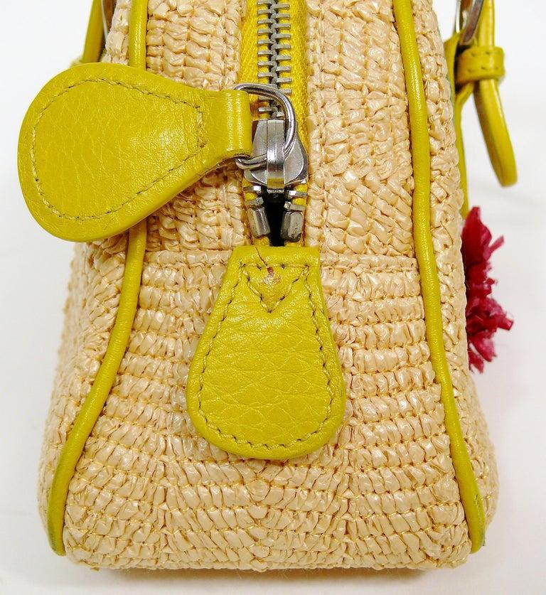 Christian Dior Limited Edition Raffia Flower Bowler Handbag For Sale 8