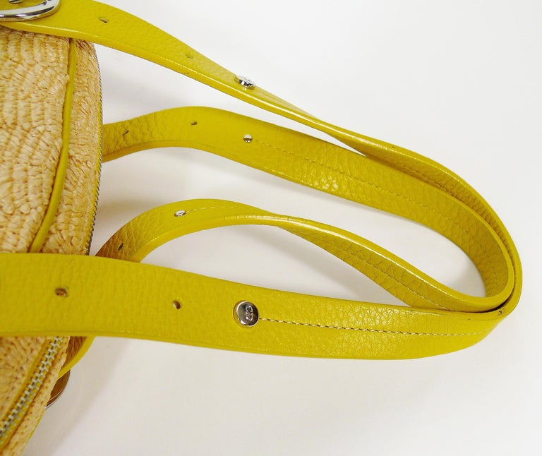 Christian Dior Limited Edition Raffia Flower Bowler Handbag For Sale 9