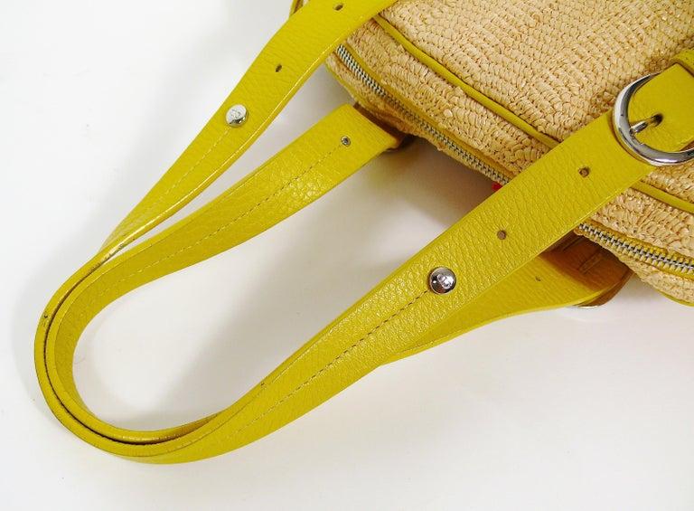 Christian Dior Limited Edition Raffia Flower Bowler Handbag For Sale 10