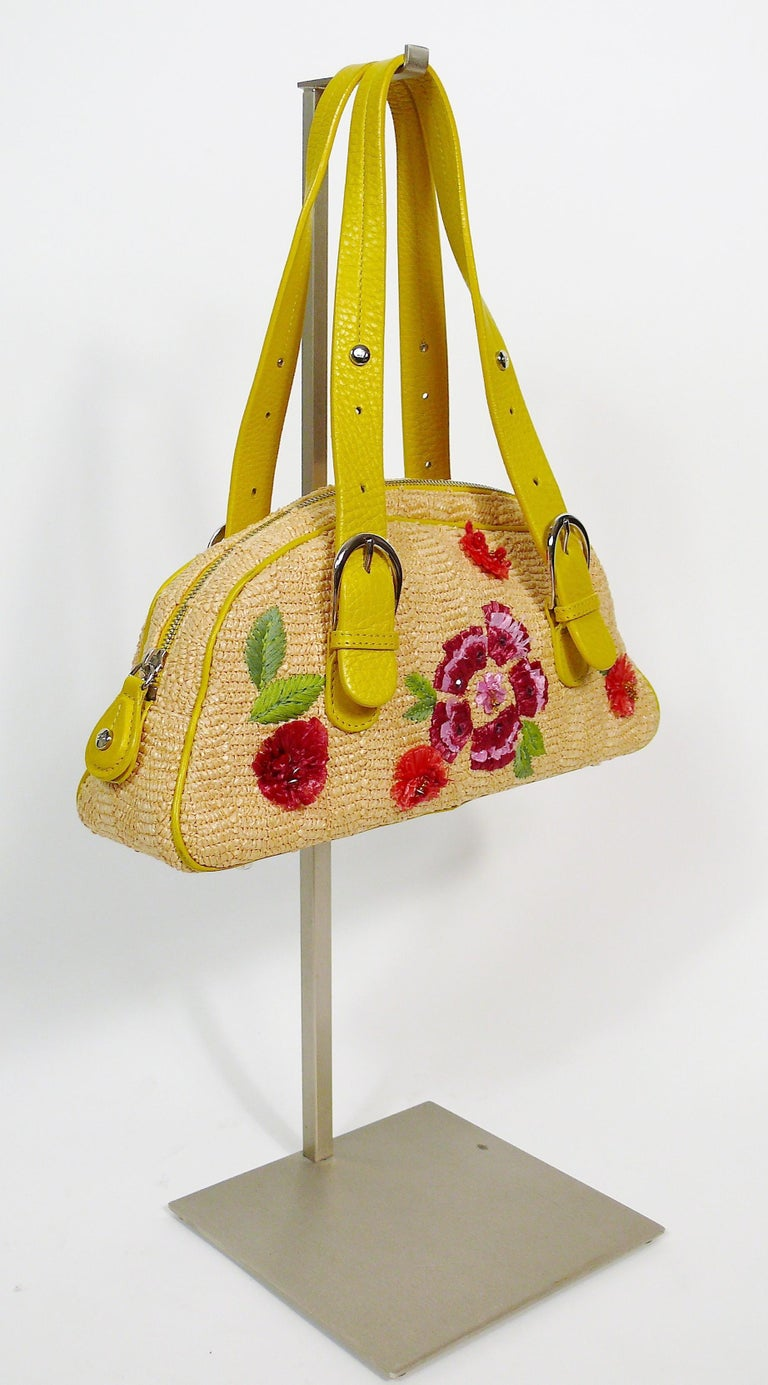 Brown Christian Dior Limited Edition Raffia Flower Bowler Handbag For Sale