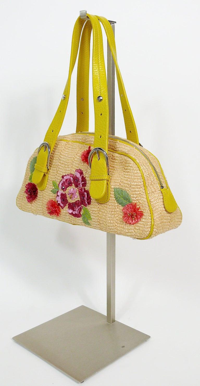 Women's Christian Dior Limited Edition Raffia Flower Bowler Handbag For Sale