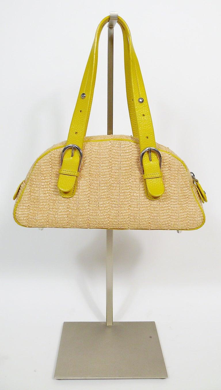Christian Dior Limited Edition Raffia Flower Bowler Handbag For Sale 1