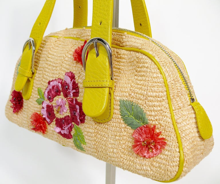 Christian Dior Limited Edition Raffia Flower Bowler Handbag For Sale 2