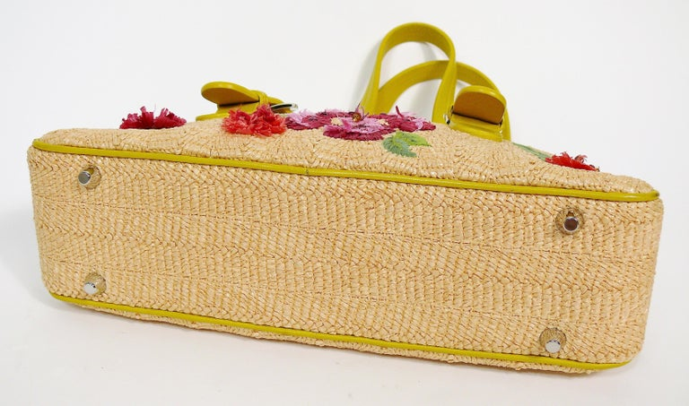 Christian Dior Limited Edition Raffia Flower Bowler Handbag For Sale 3