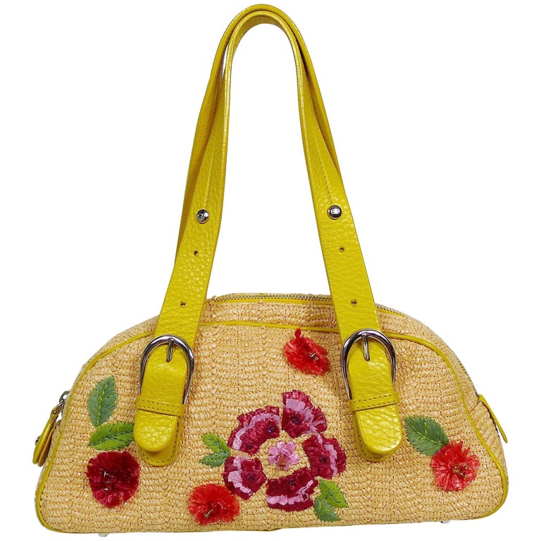 Christian Dior Limited Edition Raffia Flower Bowler Handbag For Sale