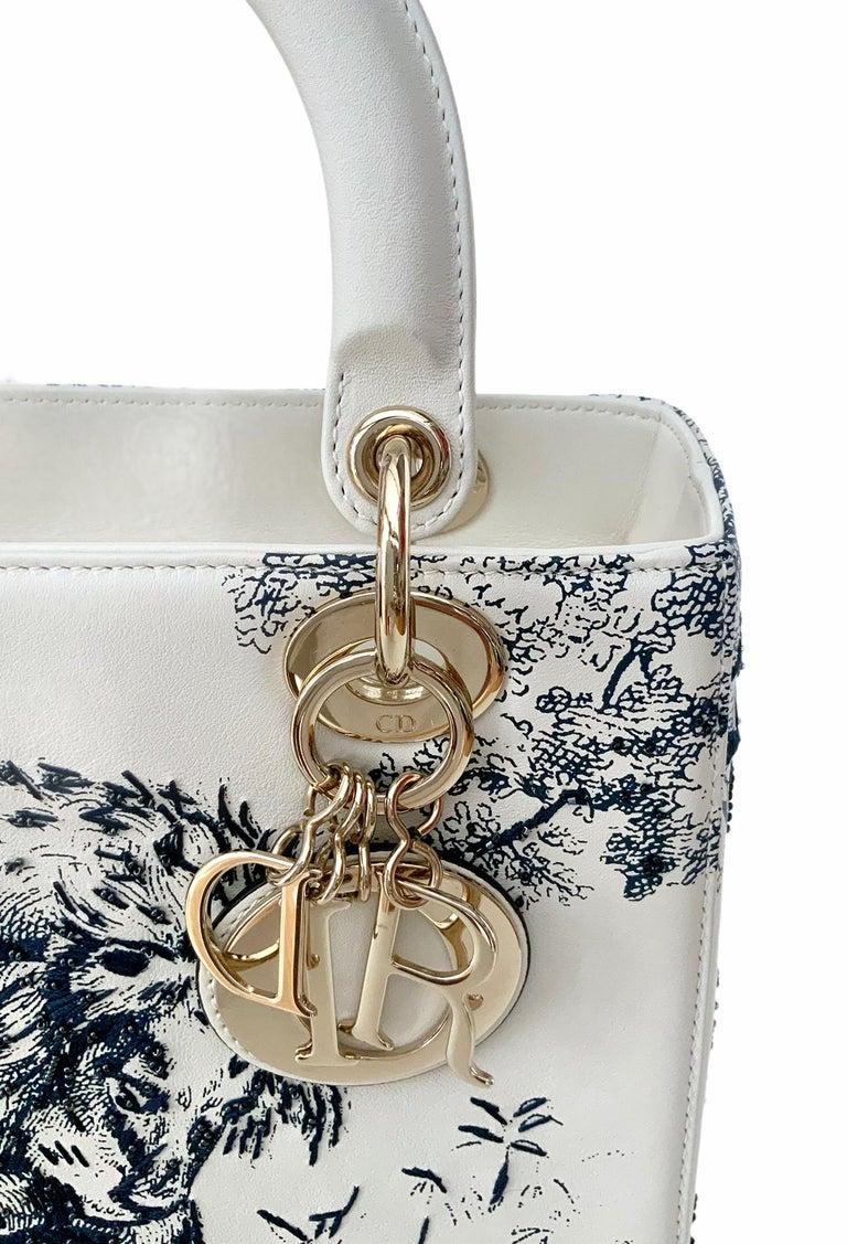 Gray Christian Dior Limited Edition Toile de Jouy Lady Dior Medium Bag