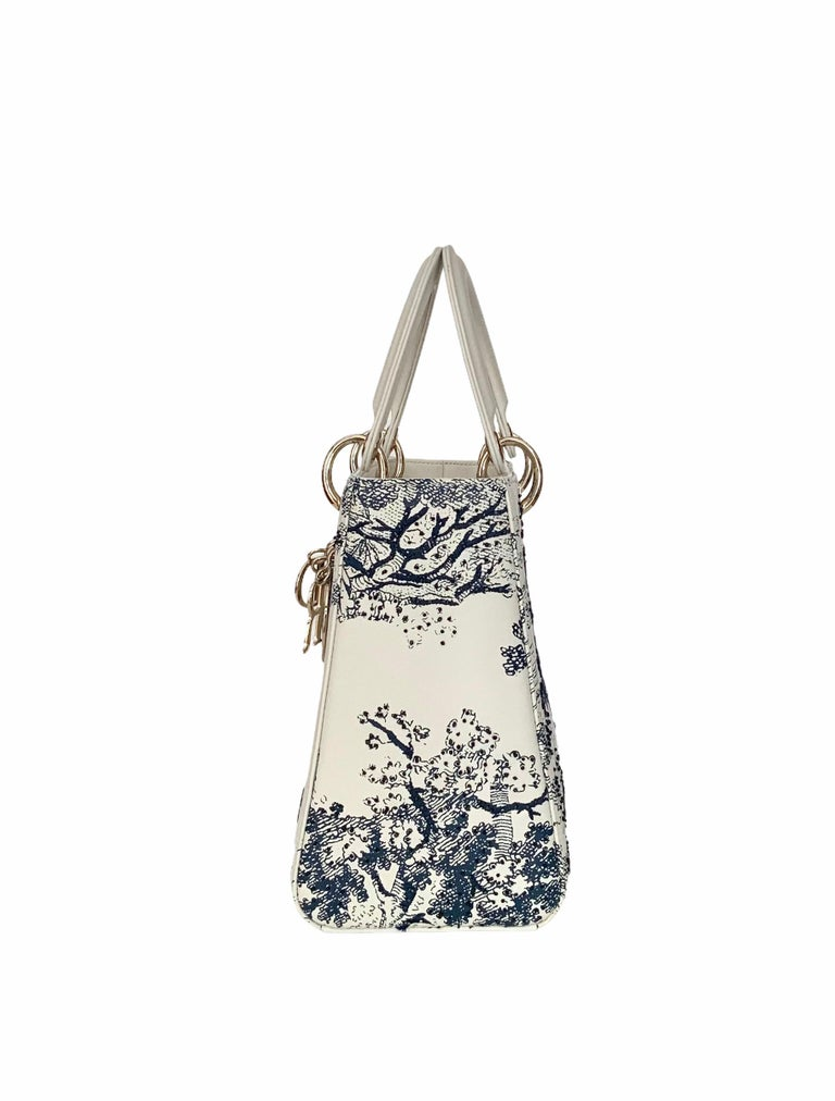Christian Dior Limited Edition Toile de Jouy Lady Dior Medium Bag In Excellent Condition In Geneva, CH
