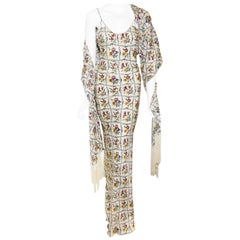 Christian Dior Long Silk Evening Dress W/ Fringed Shawl Needlepoint Multi Print