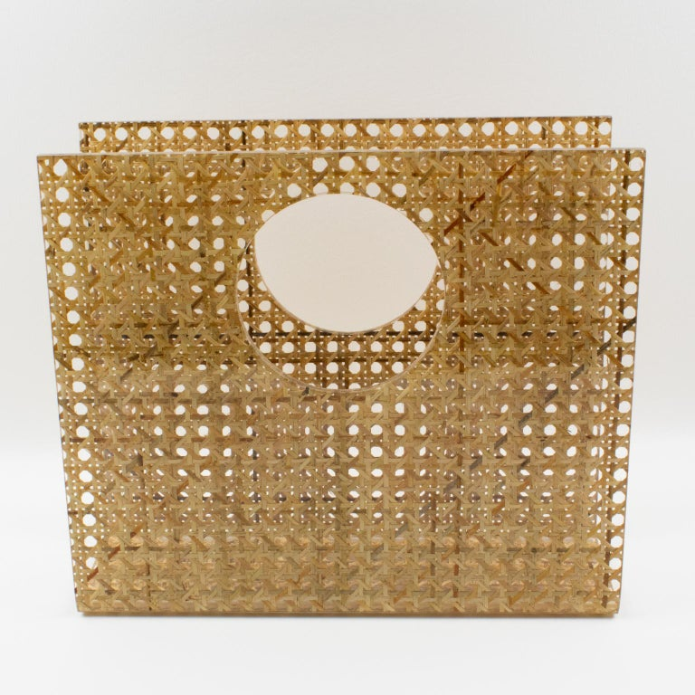 Beautiful magazine rack, holder, stand designed for Christian Dior Home Collection in the 1970s. Geometric