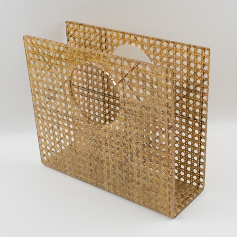 French Christian Dior Lucite Rattan Magazine Rack Holder For Sale