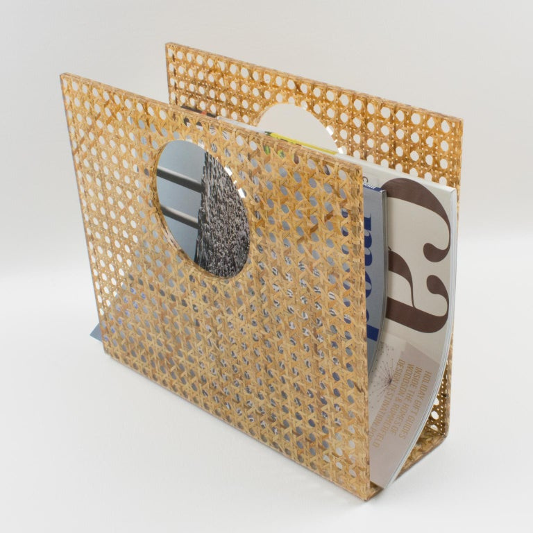 Christian Dior Lucite Rattan Magazine Rack Holder In Excellent Condition For Sale In Atlanta, GA