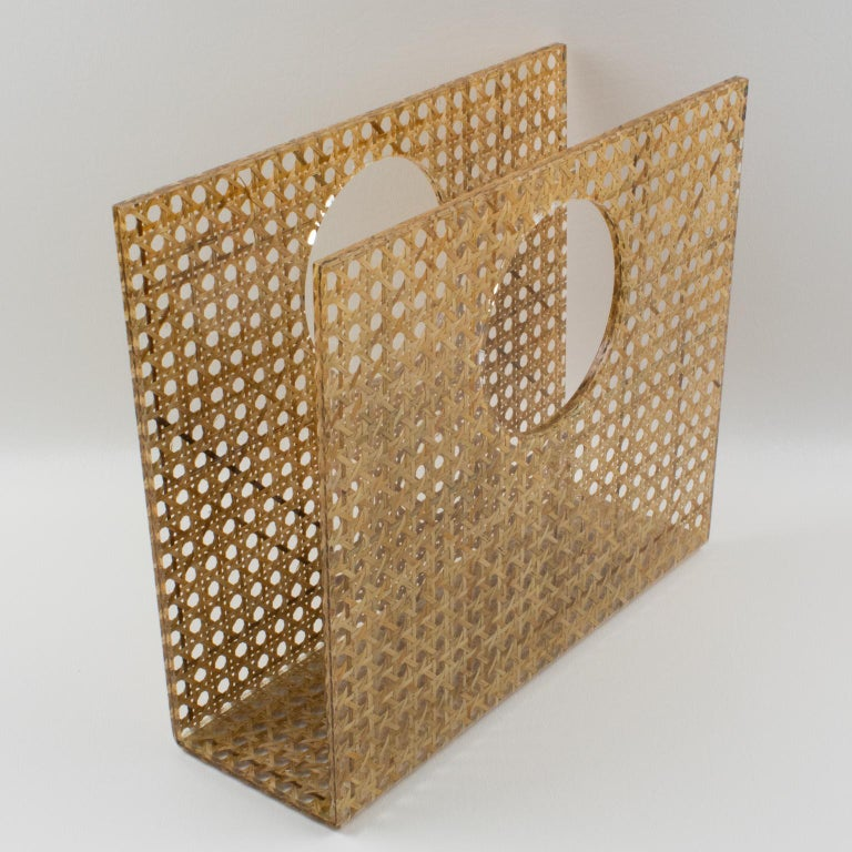 Wicker Christian Dior Lucite Rattan Magazine Rack Holder For Sale