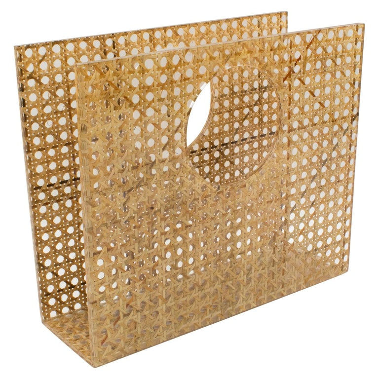 Christian Dior Lucite Rattan Magazine Rack Holder For Sale