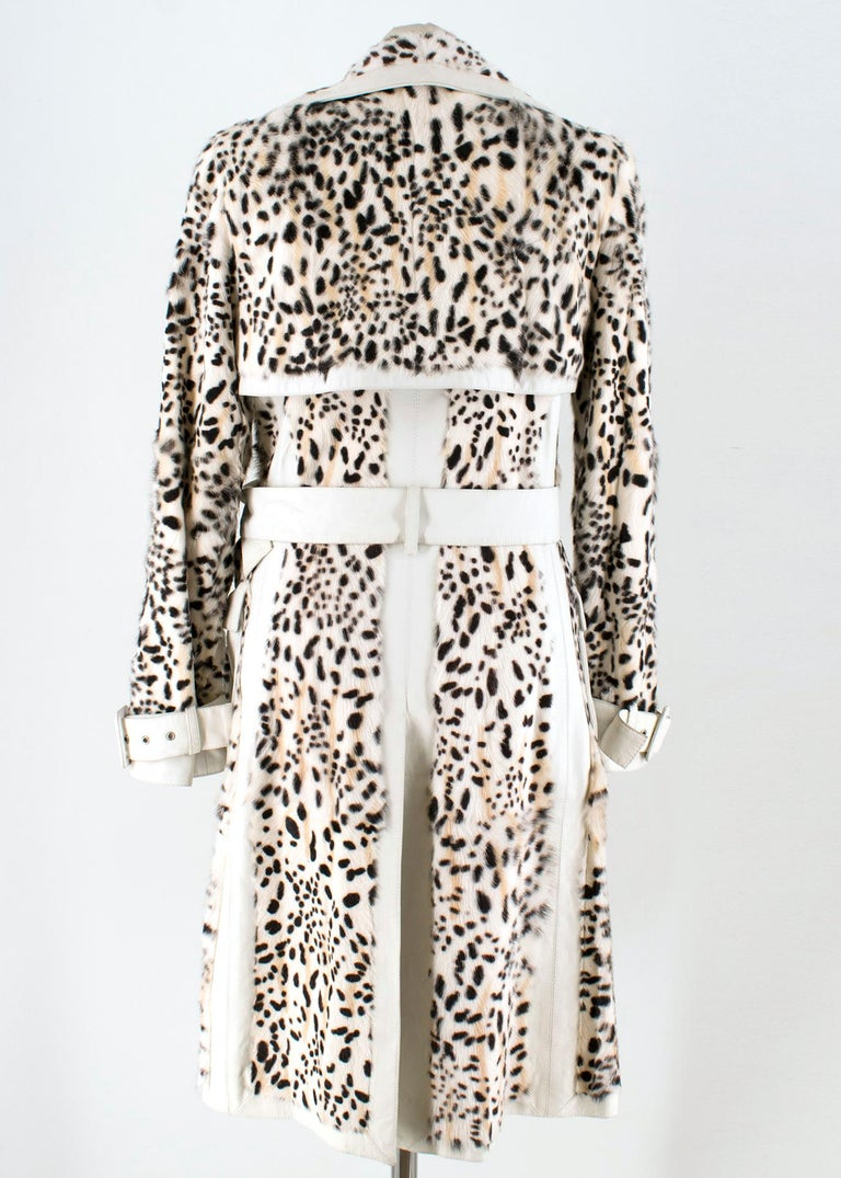 Beige Christian Dior Lynx Print Leather and Goat Fur Coat UK 8 For Sale