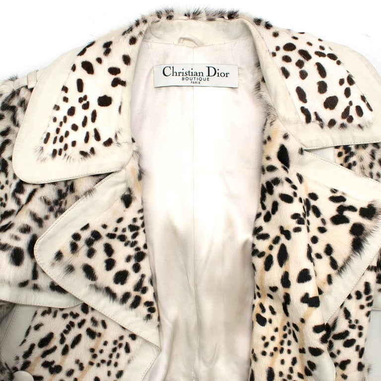 Christian Dior Lynx Print Leather and Goat Fur Coat UK 8 In Excellent Condition For Sale In London, GB