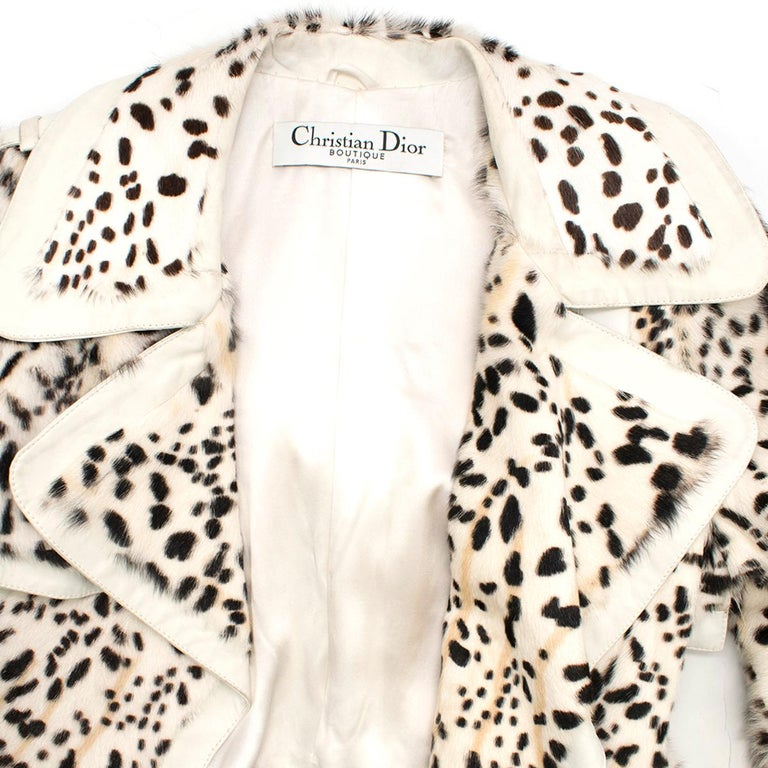 Christian Dior Lynx Print Leather and Goat Fur Coat UK 8 For Sale 1