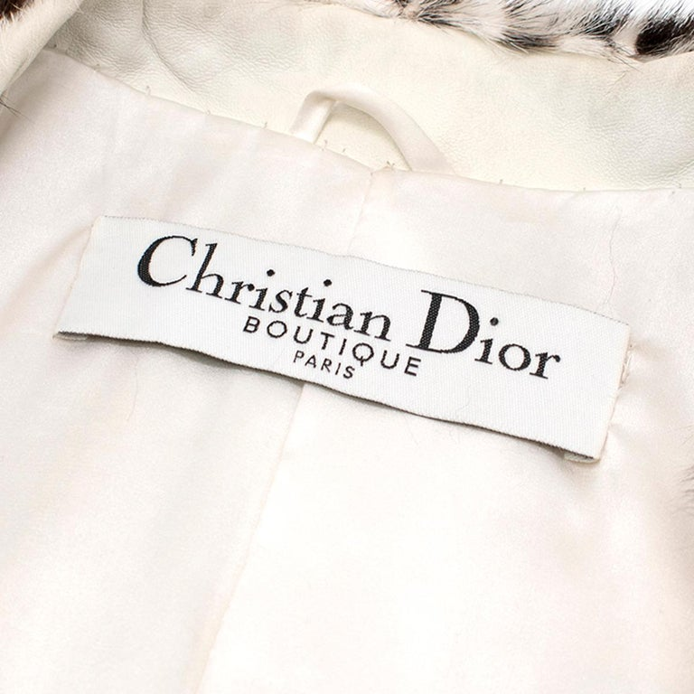 Christian Dior Lynx Print Leather and Goat Fur Coat UK 8 For Sale 2