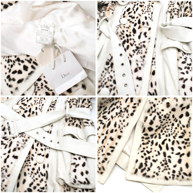Christian Dior Lynx Print Leather and Goat Fur Coat UK 8 For Sale 3
