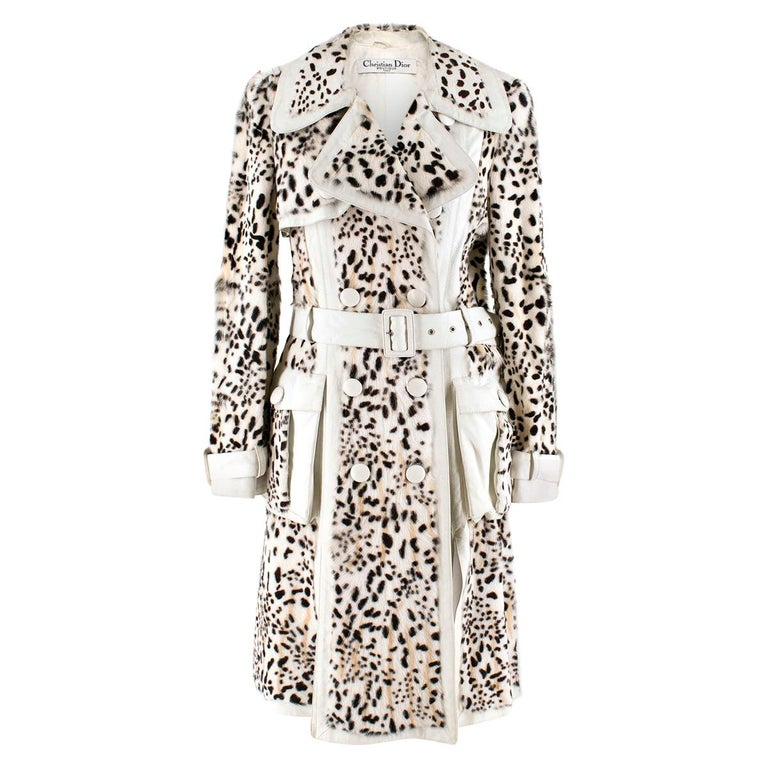 Christian Dior Lynx Print Leather and Goat Fur Coat UK 8 For Sale