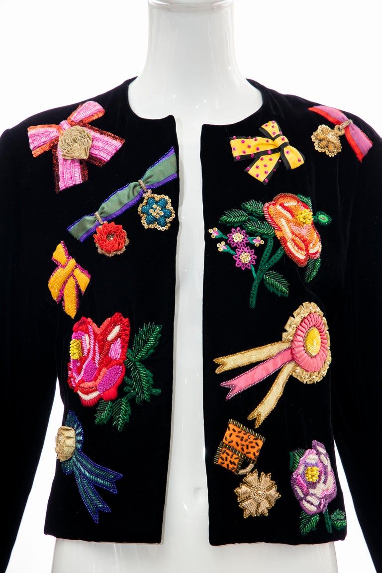 Christian Dior Marc Bohan Black Velvet Beaded Ribbon Embroidery Jacket,Fall 1988 In Excellent Condition For Sale In Cincinnati, OH