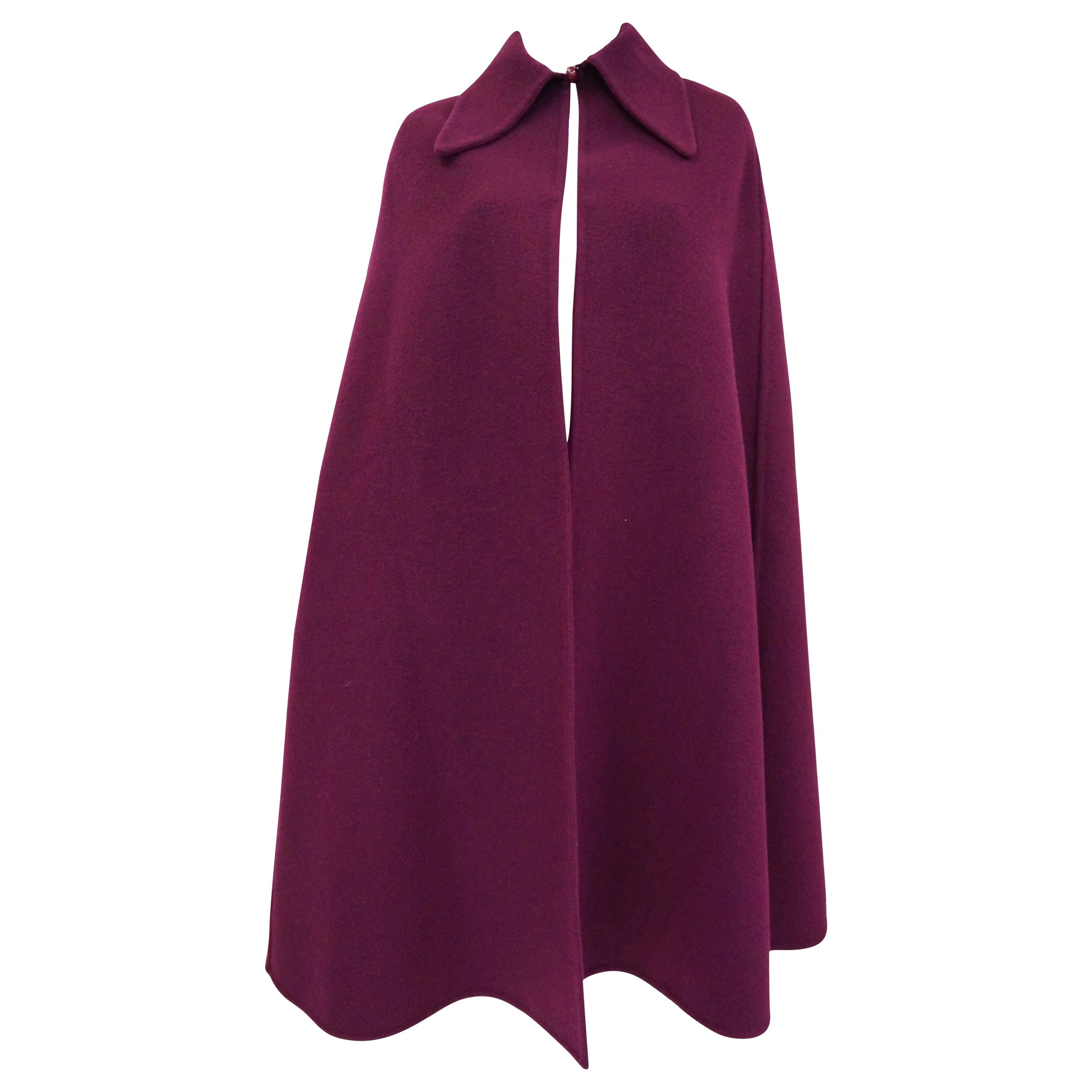 Christian Dior Marc Bohan Violet Wool Cape With Croquis and Photo, 1971
