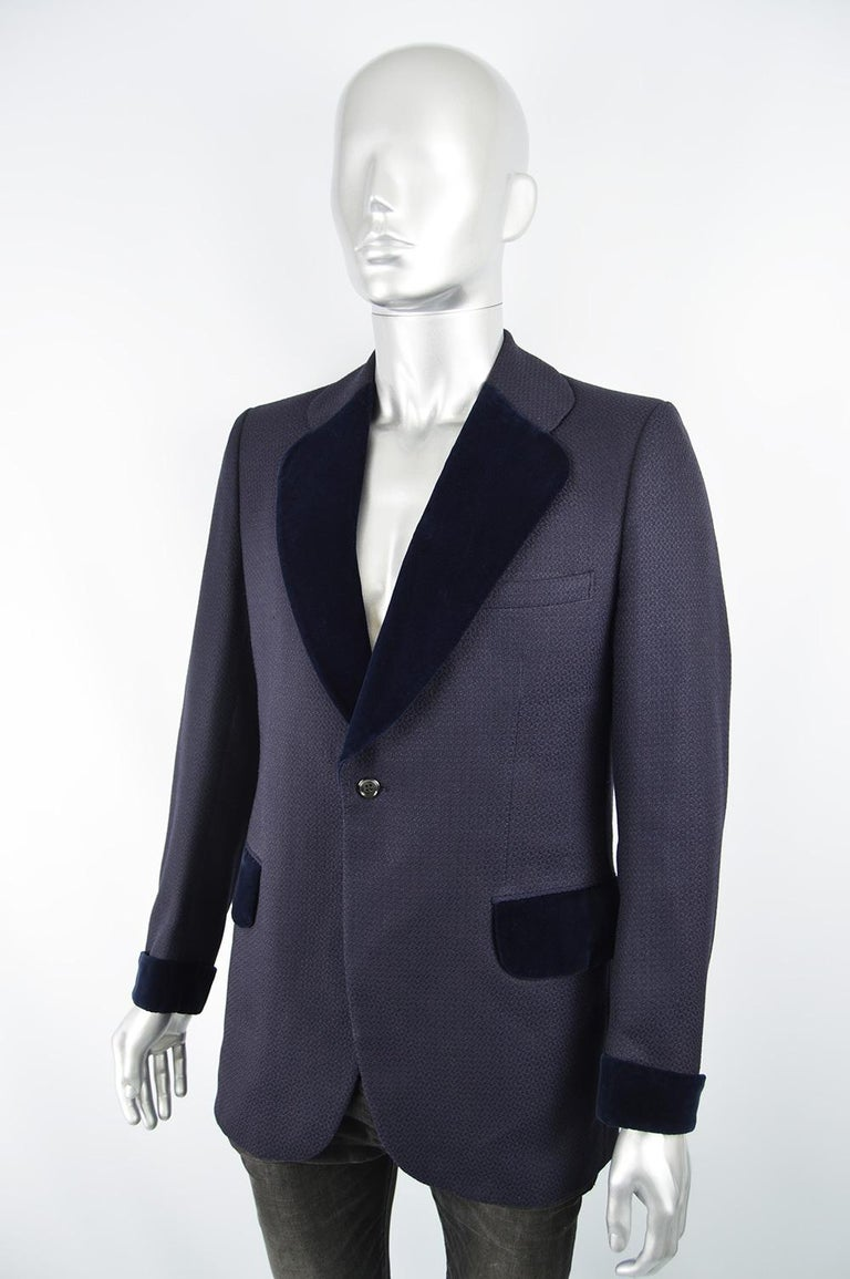 Black Christian Dior Men's Vintage Dark Blue Wool Jacquard & Velvet Dinner Jacket For Sale