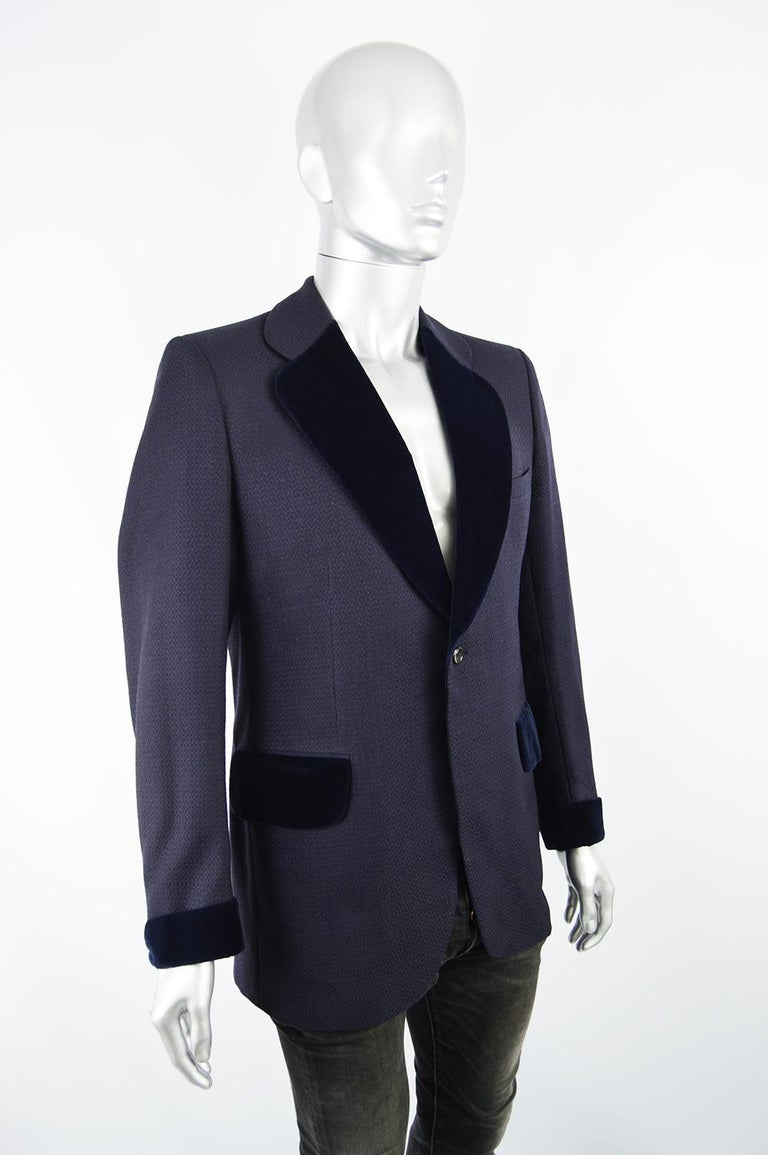 Christian Dior Men's Vintage Dark Blue Wool Jacquard & Velvet Dinner Jacket For Sale 1