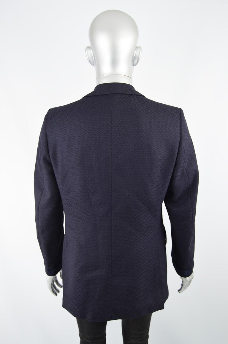 Christian Dior Men's Vintage Dark Blue Wool Jacquard & Velvet Dinner Jacket For Sale 3
