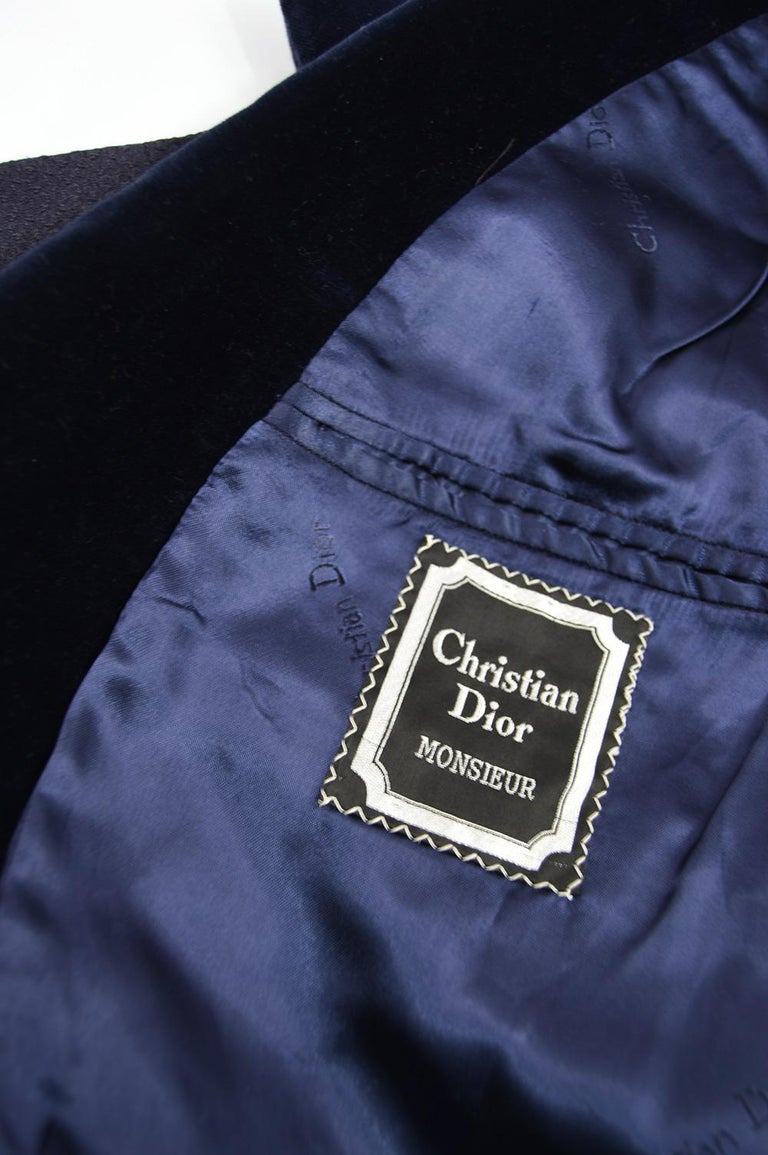 Christian Dior Men's Vintage Dark Blue Wool Jacquard & Velvet Dinner Jacket For Sale 4
