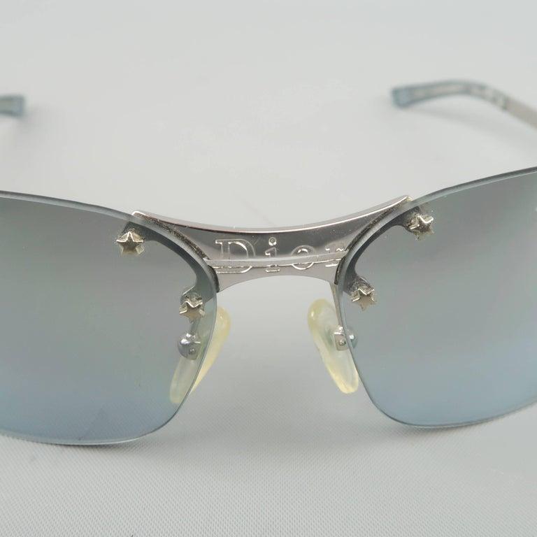 d4e15653a078 CHRISTIAN DIOR. Gray CHRISTIAN DIOR Sunglasses - Metallic Blue   Silver  Star Stud Metal POP Spring For Sale