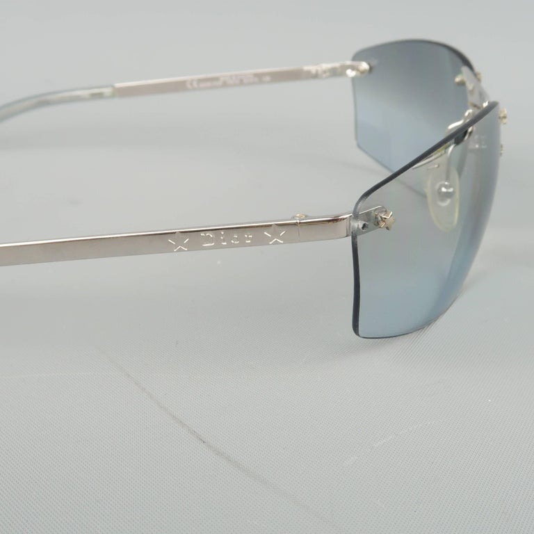 25e7c1868fe8 CHRISTIAN DIOR Sunglasses - Metallic Blue   Silver Star Stud Metal POP  Spring For Sale 2