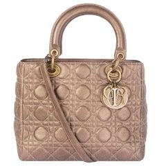 CHRISTIAN DIOR metallic gold Cannage leather LADY DIOR MEDIUM Tote Bag