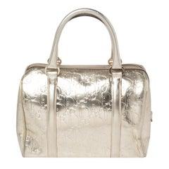Christian Dior Metallic Gold Oblique Embossed Leather Boston Bag